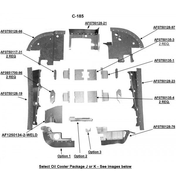 Cessna C-185 (w/ Oil Cooler) Complete Engine Baffle Set
