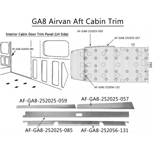 GA8 / GA8-TC Airvan Aft Cabin Trim Kit (Part# GA8-TK1)