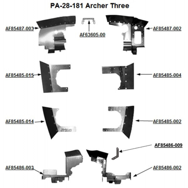 Piper PA-28-181 Archer Three Complete Engine Baffle Set